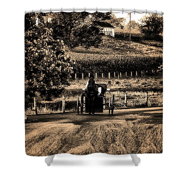Amish Buggy On A Country Road Shower Curtain