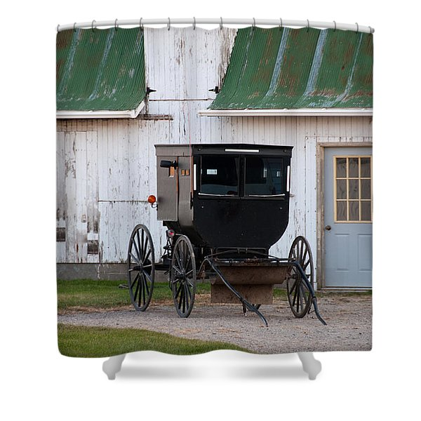 Amish Buggy White Barn Shower Curtain