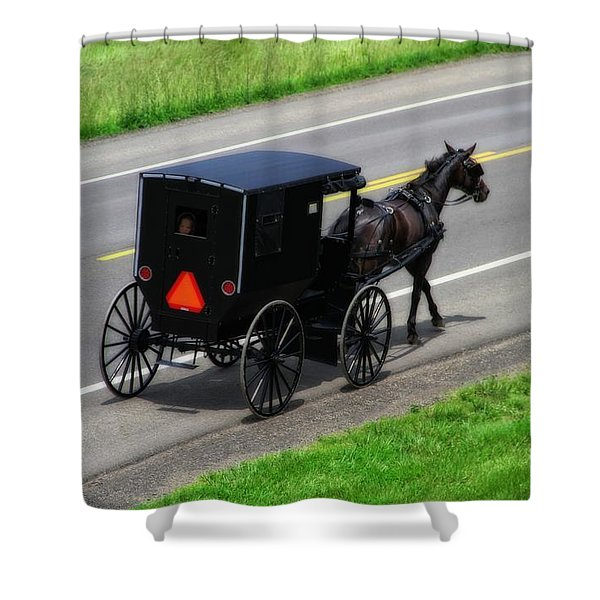 Amish Horse And Buggy In Ohio Shower Curtain