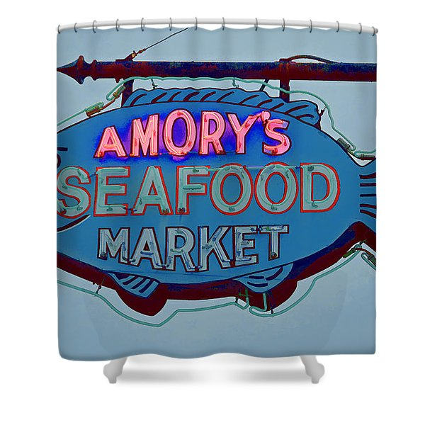 Amory Seafood Sign Shower Curtain
