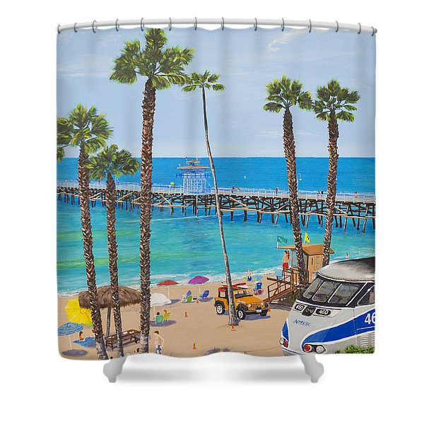 Shower Curtain featuring the painting Perfect Beach Day by Mary Scott