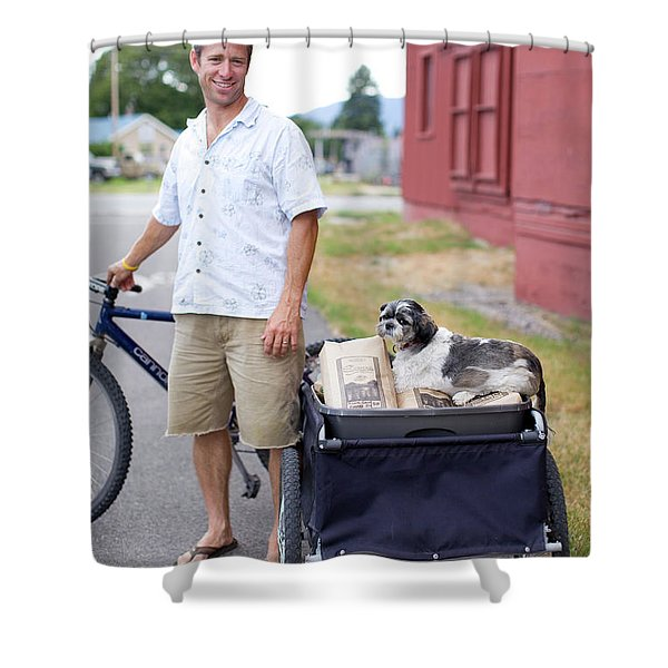 An Adult Man With His Bike, Trailer Shower Curtain