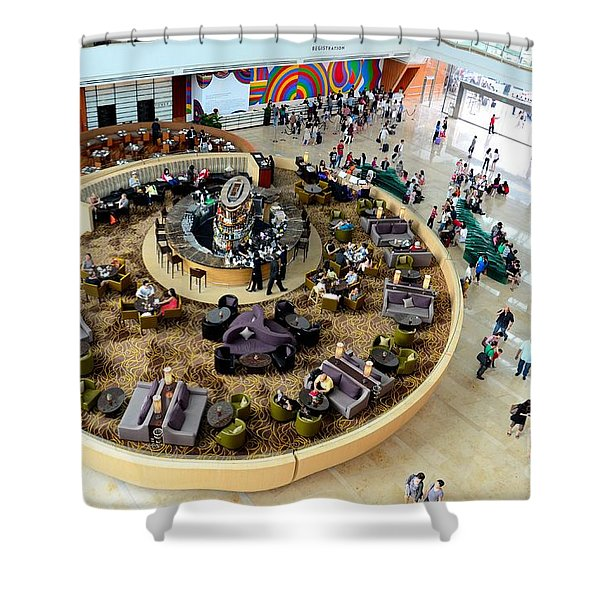 An Aerial View Of The Marina Bay Sands Hotel Lobby Singapore Shower Curtain