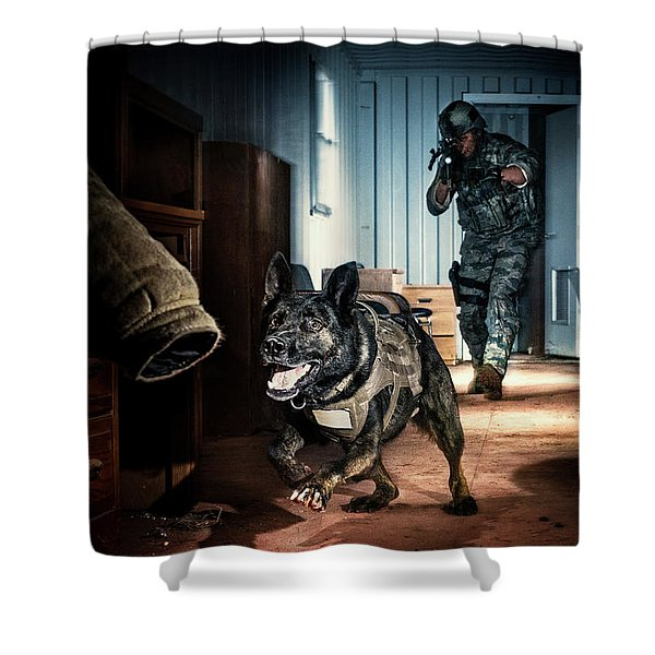An Air Force Security Forces K-9 Shower Curtain