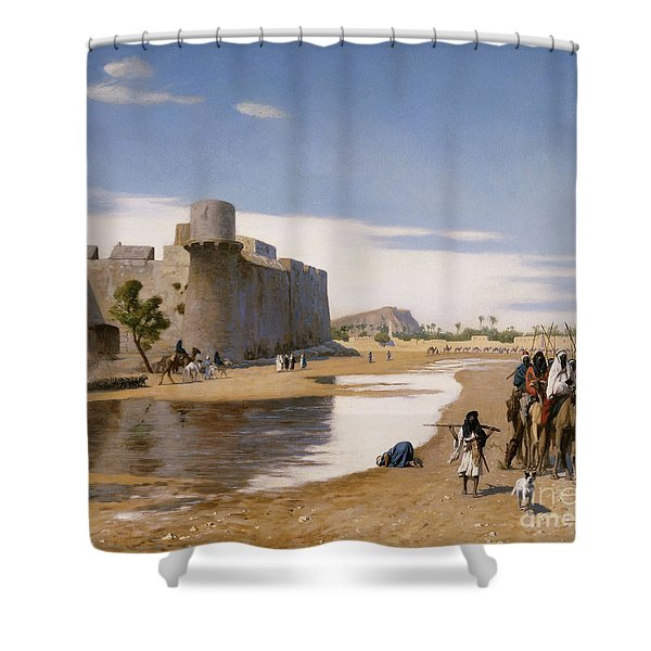 An Arab Caravan Outside A Fortified Town Shower Curtain
