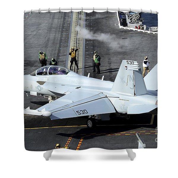 An Ea-18b Growler Taxis Onto A Catapult Shower Curtain