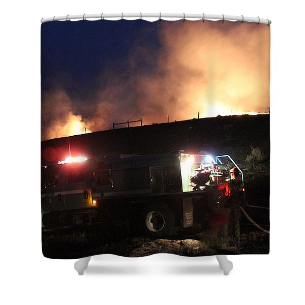 An Engine Crew Works At Night On White Draw Fire Shower Curtain
