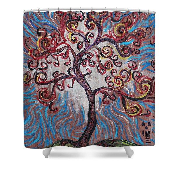 An Enlightened Tree Shower Curtain