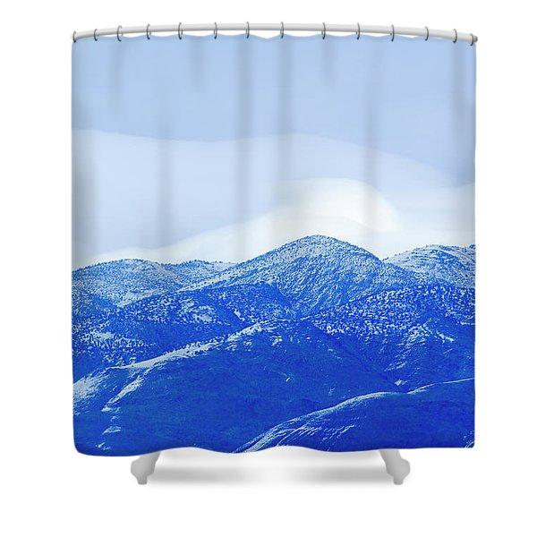 An Evening View Of A Mountainside Shower Curtain