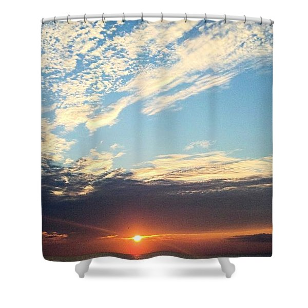 An Ocean And A Sunrise Shower Curtain