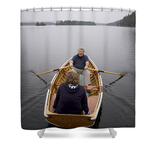 An Old Couple On A Lake, Maine, Usa Shower Curtain