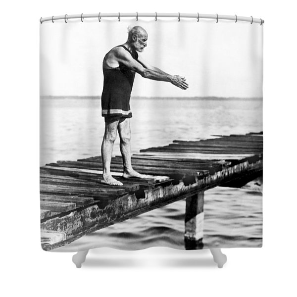 An Old Man Prepares To Dive Shower Curtain