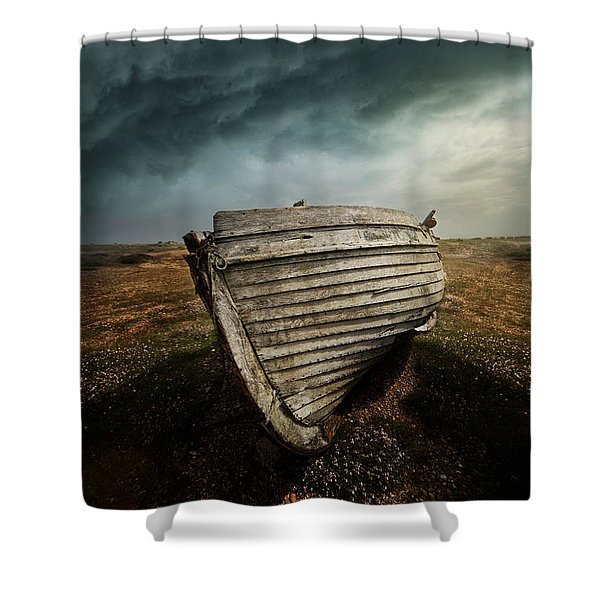 Shower Curtain featuring the photograph An Old Wreck On The Field. Dramatic Sky In The Background by Jaroslaw Blaminsky