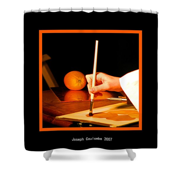 An Orange And A Brush Shower Curtain