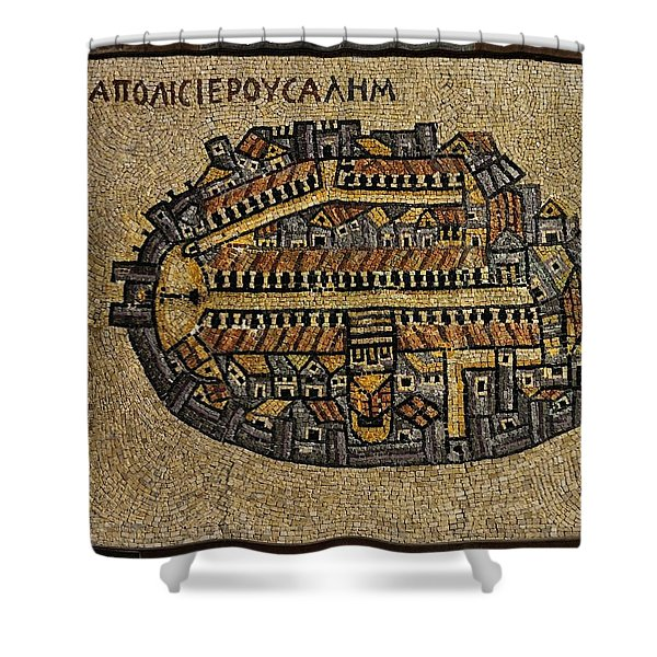 Ancient Jerusalem Mosaic Map Color Framed Shower Curtain