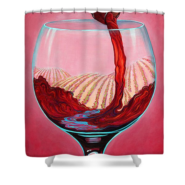 Shower Curtain featuring the painting ...and Let There Be Wine by Sandi Whetzel
