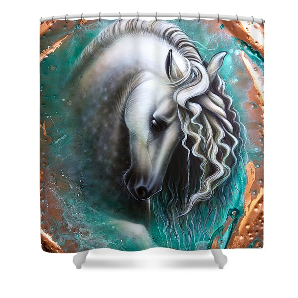 Shower Curtain featuring the painting Andalusian - Copper by Sandi Baker