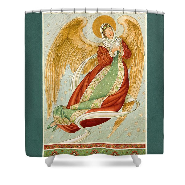 Angel In Green Slippers Shower Curtain