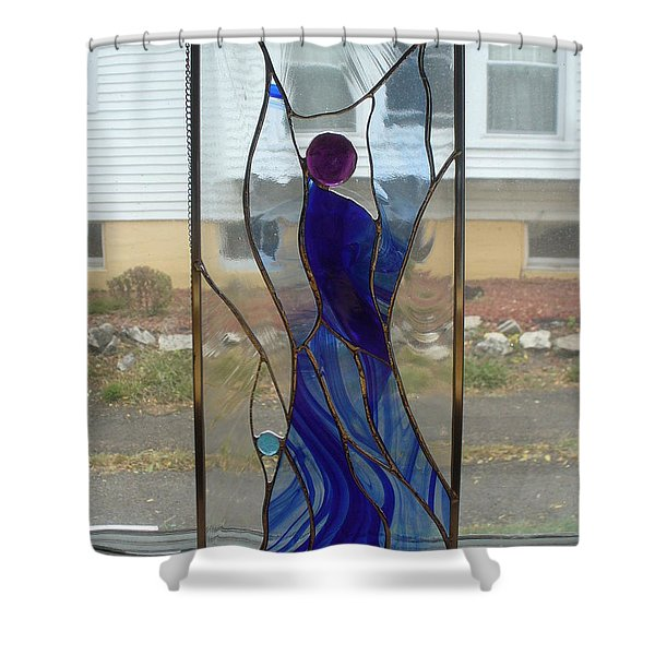 Shower Curtain featuring the glass art Angel  by Karin Thue