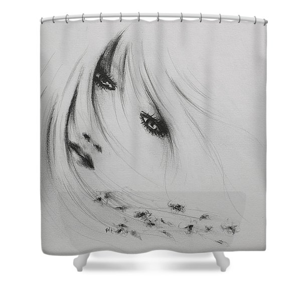 Angel Of The Flowers Shower Curtain