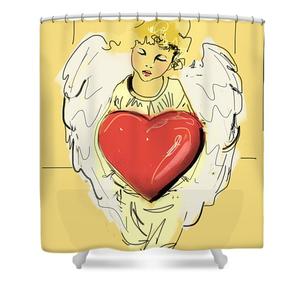 Angel Red Heart Shower Curtain