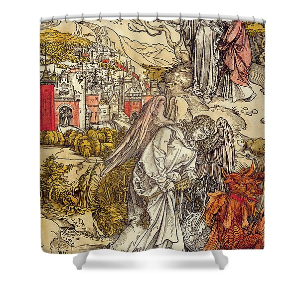 Angel With The Key Of The Abyss Shower Curtain