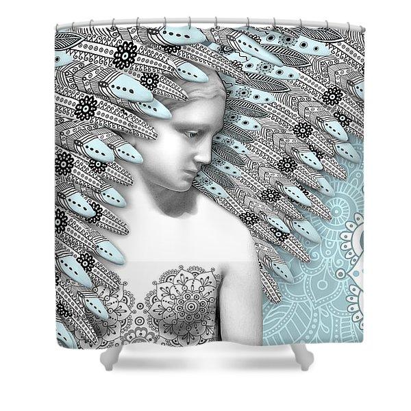 Shower Curtain featuring the digital art Angelica Hiberna - Angel Of Winter by Christopher Beikmann