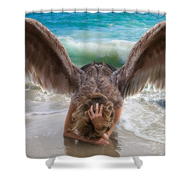 Angels- I Will Not Give Up On You Shower Curtain