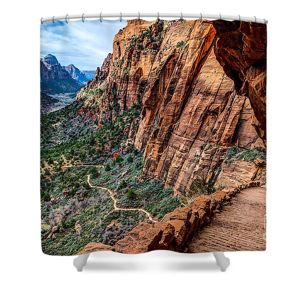 Angels Landing Trail From High Above Zion Canyon Floor Shower Curtain