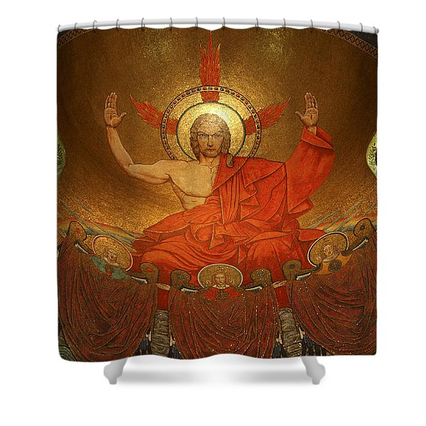 Angry God Mosaic At The Shrine Of The Immaculate Conception In Washington Dc Shower Curtain