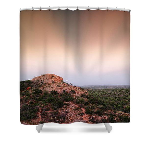 Anticrepuscular Rays Over Turkey Peak - Enchanted Rock State Natural Area Texas Hill Country Shower Curtain