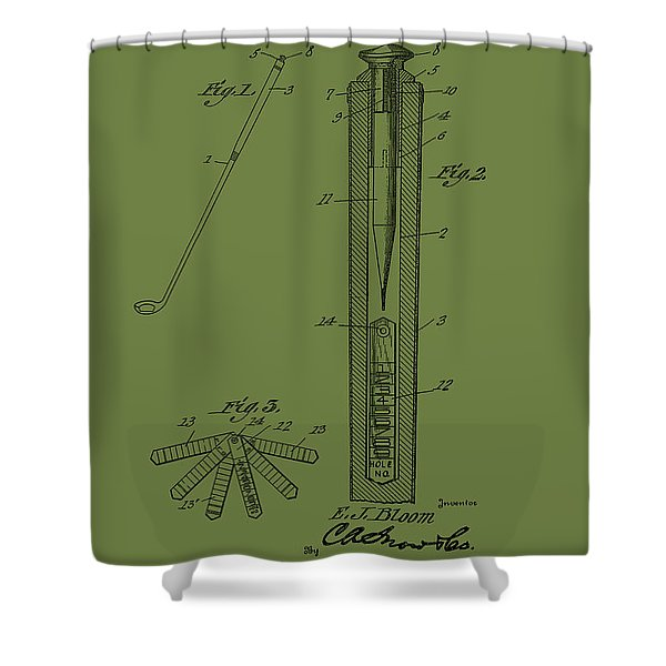 Antique Golf Club Patent 1924 Shower Curtain