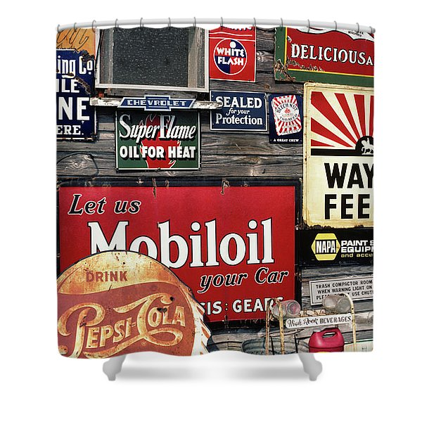 Antique Store Featuring Old Brand Name Shower Curtain