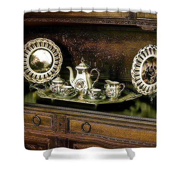 Antique Tea Set Shower Curtain