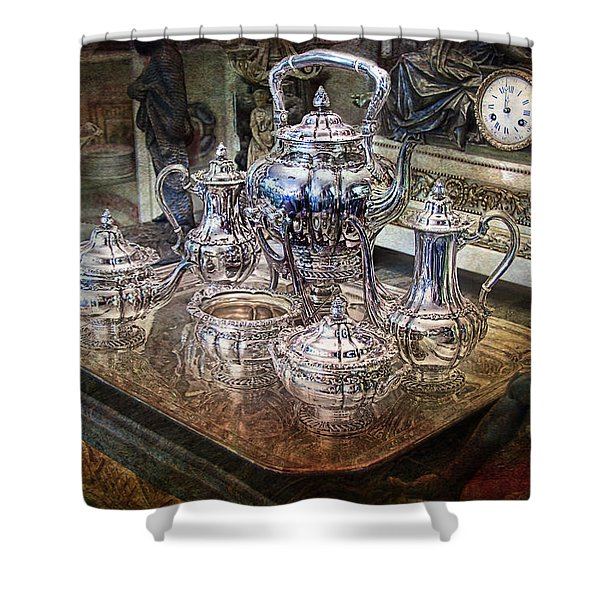 Shower Curtain featuring the photograph Antique Tiffany Sterling Silver Coffee Tea Set by Gunter Nezhoda