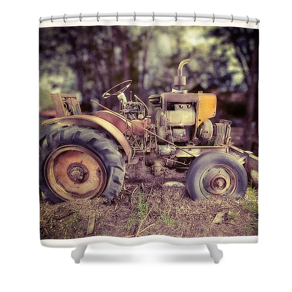 Antique Tractor Home Built Shower Curtain