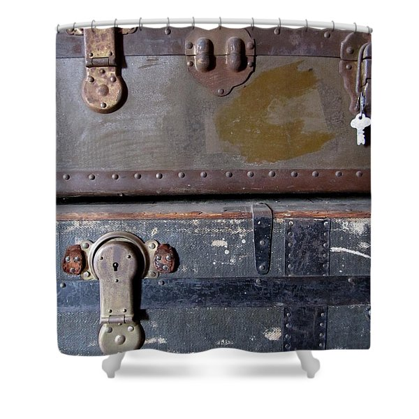 Shower Curtain featuring the photograph Antique Trunks 5 by Anita Burgermeister