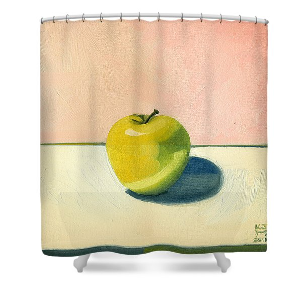 Apple - Pink And White Shower Curtain