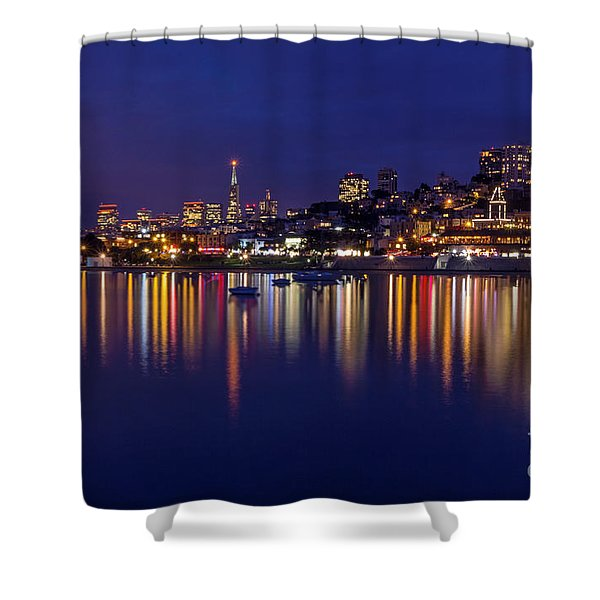 Aquatic Park Blue Hour Wide View Shower Curtain
