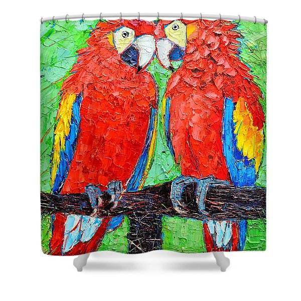 Ara Love A Moment Of Tenderness Between Two Scarlet Macaw Parrots Shower Curtain