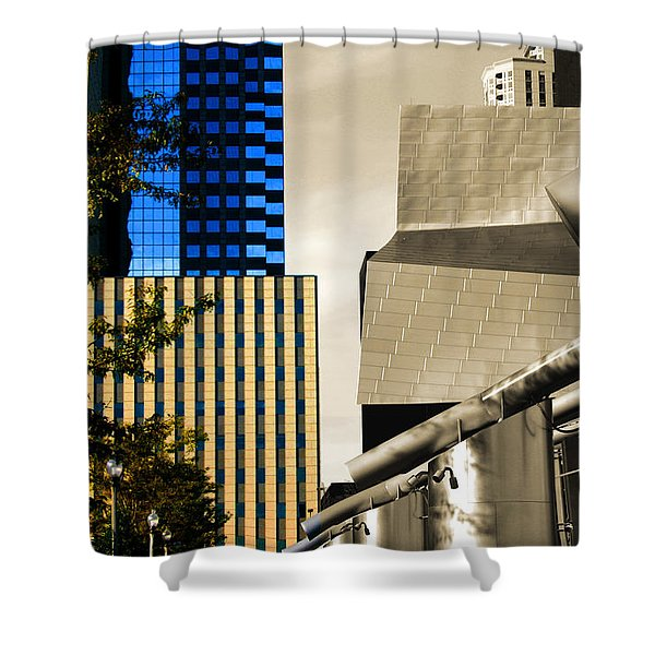 Architectural Crumpled Steel Gehry Shower Curtain