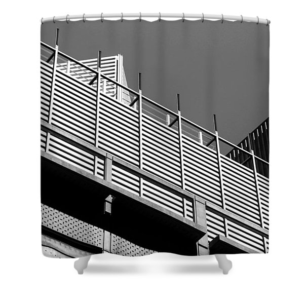 Architectural Lines Black White Shower Curtain