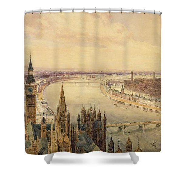 Architectural Panorama Of A Proposed Shower Curtain