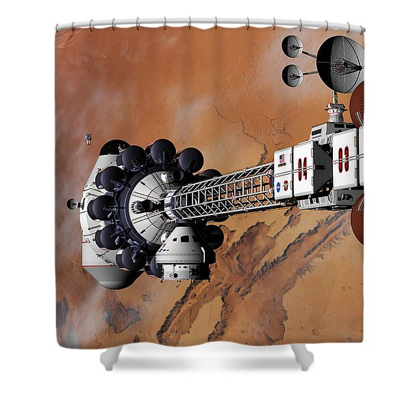 Ares1 Captured Over Valles Marineris Shower Curtain