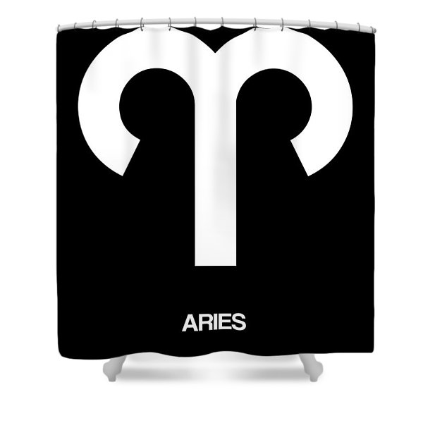 Aries Zodiac Sign White Shower Curtain
