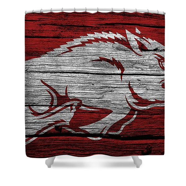 Arkansas Razorbacks On Wood Shower Curtain