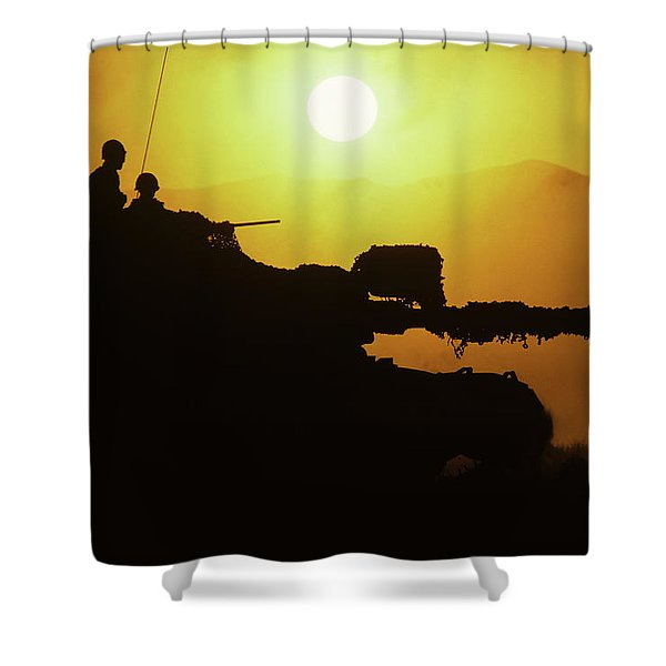 Army Tank With Camouflage In Training Shower Curtain