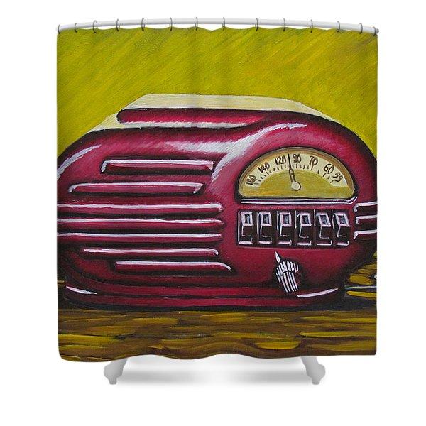Art Deco Radio Shower Curtain