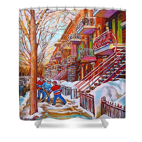 Art Of Montreal Staircases In Winter Street Hockey Game City Streetscenes By Carole Spandau Shower Curtain