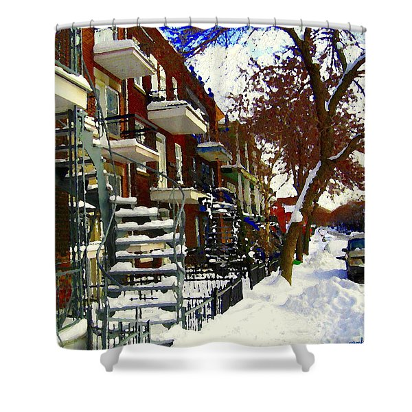 Art Of Winter Tree And Snowy Staircase Scene Montreal Streets Colors Of Quebec Carole Spandau Shower Curtain